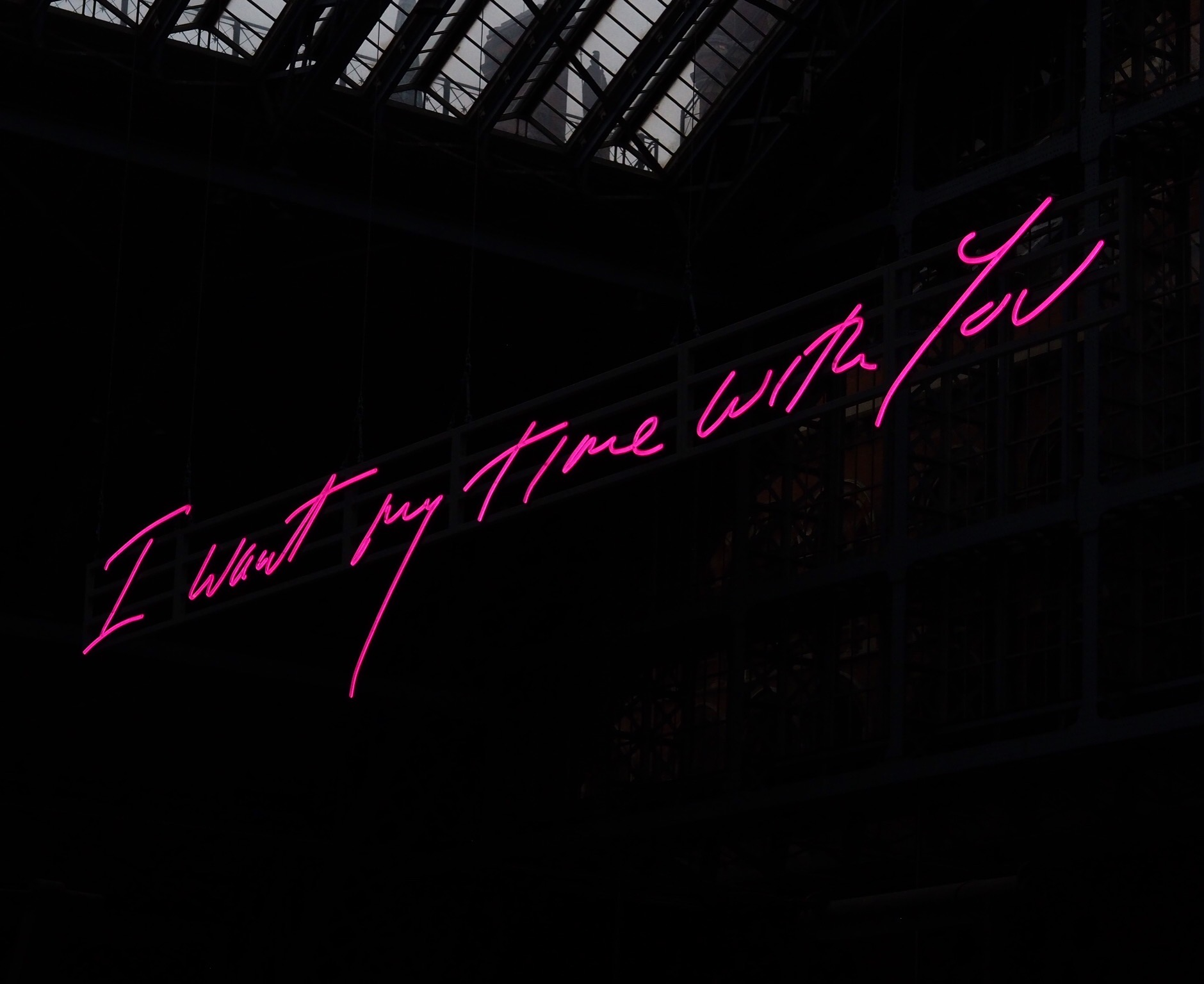 pink neon sign saying 'I want my time with you'