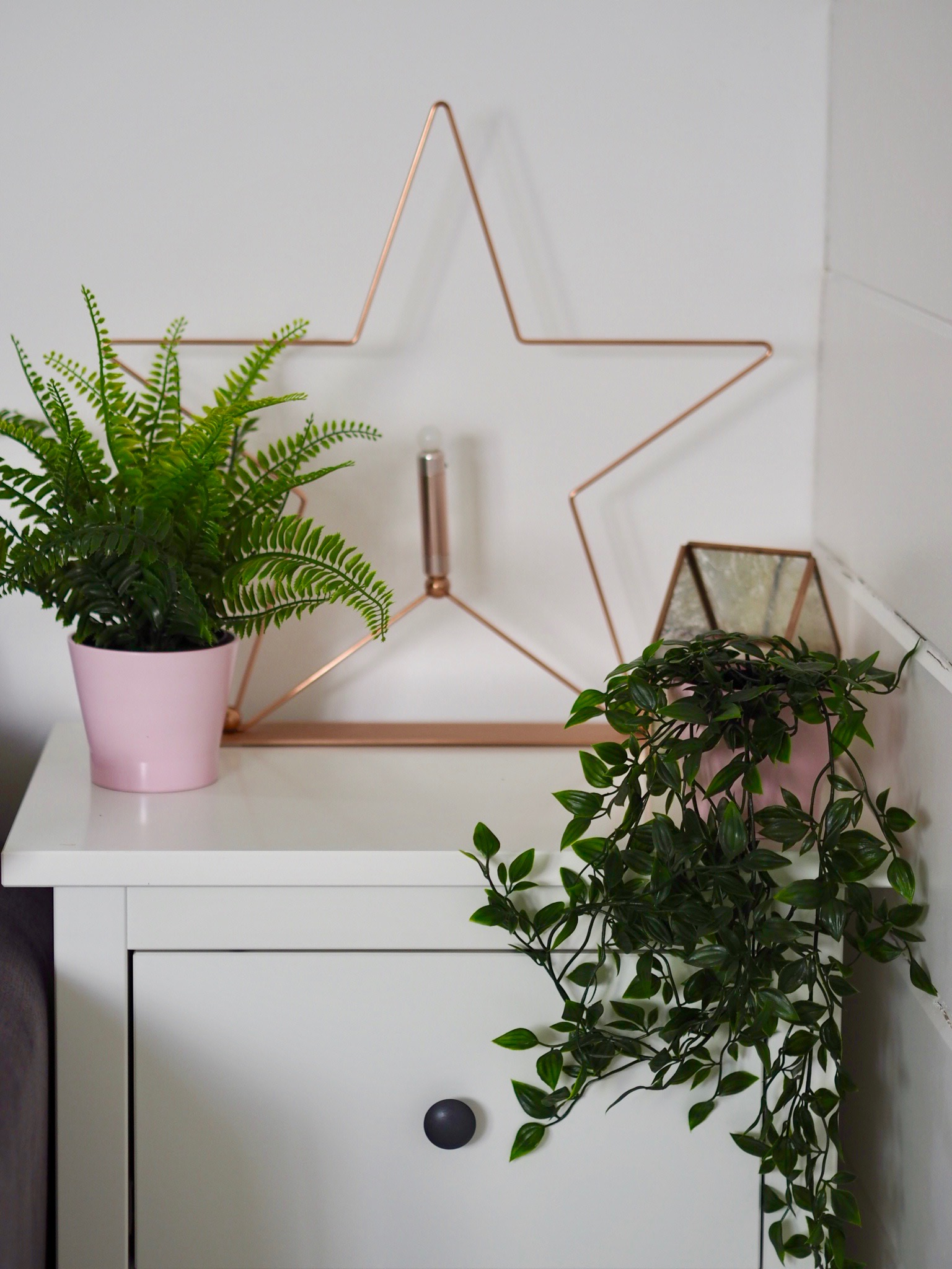 side table with plants and copper star on the top